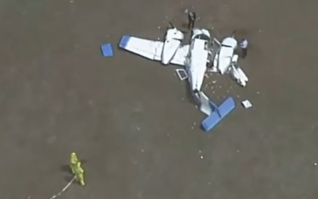 One of two small plane that crashed February 19, 2020, in Mangalore, north of Melbourne, Australia. (Screenshot: Twitter)