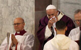 Pope Francis wipes his nose during the Ash Wednesday Mass opening Lent, Feb. 26, 2020. (AP/Gregorio Borgia)