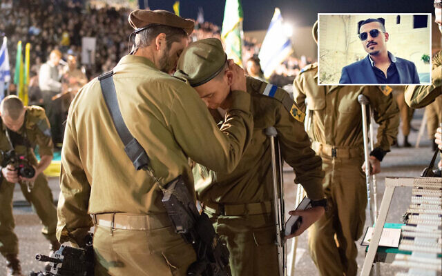 IDF soldiers from the Golani brigade, hours after they were wounded in a car-ramming attack, take part in their swearing-in ceremony on February 6, 2020 at the Western Wall in Jerusalem. Insert: Suspected attacker Sanad al-Tourman. (IDF, social media)