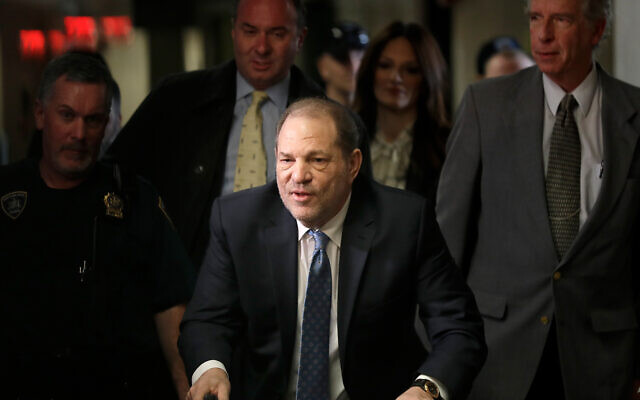 Harvey Weinstein arrives at a Manhattan courthouse for jury deliberations in his rape trial, Feb. 24, 2020, in New York. (AP Photo/Seth Wenig)