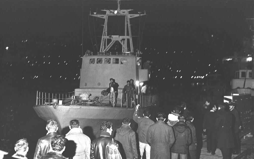 The Cherbourg boats arrive in Haifa, December 31, 1969. (Moshe Milner/GPO)