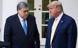 US Attorney General William Barr, left, and President Donald Trump turn to leave after speaking in the Rose Garden of the White House, in Washington, July 11, 2019. (AP Photo/Alex Brandon, File)