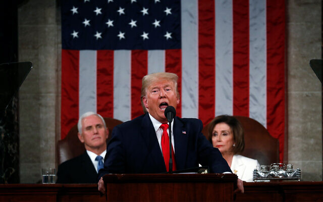 US President Donald Trump delivers his State of the Union address to a joint session of Congress in the House Chamber on Capitol Hill in Washington, February 4, 2020. (Leah Millis/Pool via AP)