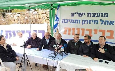 Settler leaders sit at their pro sovereignty tent outside the Prime Minister's Office in Jerusalem on February 4, 2020. (Gush Etzion Regional Council)