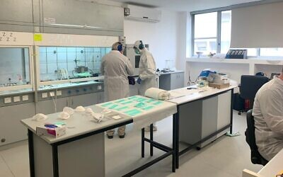 Sonovia Ltd. uses nanotechnology to create fabrics that have been shown to be effective against bacterial and fungal infections. The firm's lab in Ramat Gan (Courtesy)