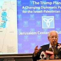US Ambassador to Israel David Friedman addressing a briefing hosted by the Jerusalem Center for Public Affairs, February 9, 2020 (Matty Stern/U.S. Embassy Jerusalem)