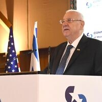 President Reuven Rivlin addressing American Jewish leaders in Jerusalem, February 17. (2020 Mark Neyman/GPO)