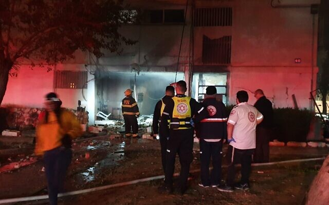 First responders at the scene of a blast, apparently caused by a gas canister accident, in Ashdod, February 19, 2020. (MDA)