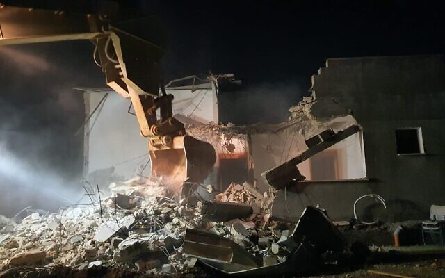 Israeli troops demolish the home of a Palestinian terrorist in the West Bank city of Jenin on February 6, 2020. (Israel Defense Forces)