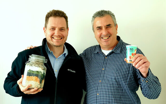 Steve Grun, CEO of Yofix Probiotics Ltd, left, and co-founder Ronen Lavee (Courtesy)