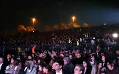 Attendants at a Beersheba rally for the return of Israeli civilians and slain Israeli soldiers held in the Gaza Strip, February 26, 2020 (YouTube screenshot)