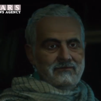 Qassem Soleimani is seen moments before his killing in a US drone strike in an Iranian animated video (Courtesy MEMRI)