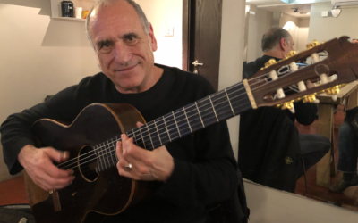 Guitarist David Broza in Jerusalem's Zappa Club on February 8, 2020, before a performance (Jessica Steinberg/Times of Israel)