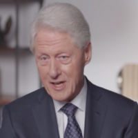 "Bill Clinton speaks in a clip from ""Viral: Antisemitism in Four Mutations."" (Screenshot from Newsweek via JTA)"