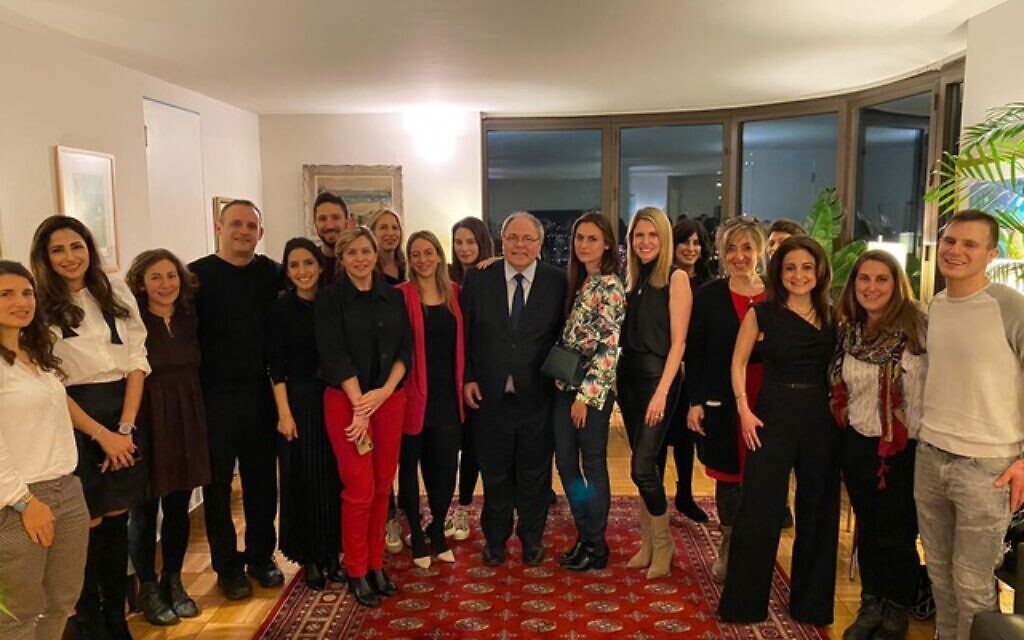 Israeli and American journalists, and diplomatic staff, at a 'Valentine's Day' event for Israeli and Diaspora Jewry at the home of the consul general in New York. (Office of the Consul General of Israel)
