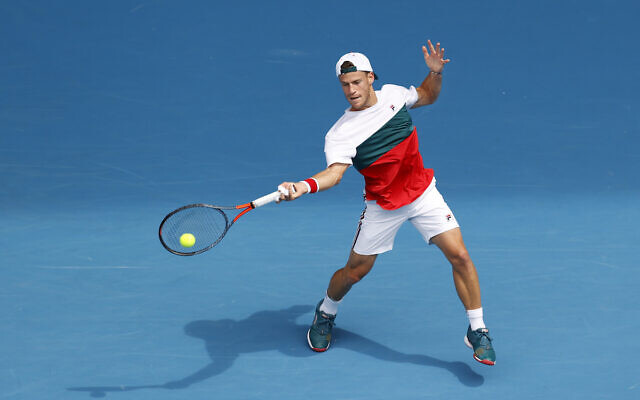 Diego Schwartzman of Argentina in action during his Men's Singles fourth round match against Novak Djokovic of Serbia on day seven of the 2020 Australian Open at Melbourne Park on January 26, 2020 in Melbourne, Australia. (Fred Lee/Getty Images via JTA)