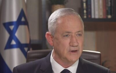 Blue and White leader Benny Gantz gives television interview, February 15, 2020 (Screen grab/Channel 12 news)