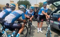 Members of Israel's cytcling team are seen in the United Arab Emirates, February 22, 2020 (Courtesy)