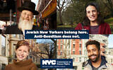 Top left, clockwise, Yosef Rapaport, Laura Shaw Frank, Marques Hollie and Dana Sussman appear in a New York City campaign in the wake of recent anti-Semitic attacks. (NYC Commission on Human Rights via JTA)