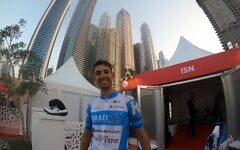 A member of Israel's cycling team is seen in the United Arab Emirates, February 22, 2020. (Courtesy)