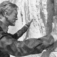 Kirk Douglas at the Western Wall in the Old City of Jerusalem, in 1988. (Douglas Collection via JTA)