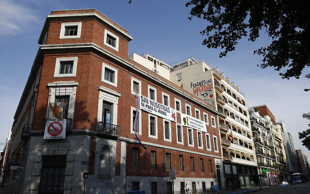 """The building known as """"The Ungovernable,"""" which is to become the Jewish museum of Madrid, is pictured when it was still illegally occupied by far-left activists, July 4, 2019. (Eduardo Parra/Europa Press via Getty Images/JTA)"""