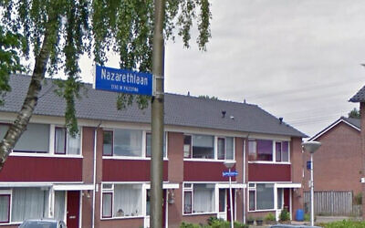 The Israeli city of Nazareth is in Palestine, according to this sign in Eindohven, the Netherlands. (Google Maps via JTA)