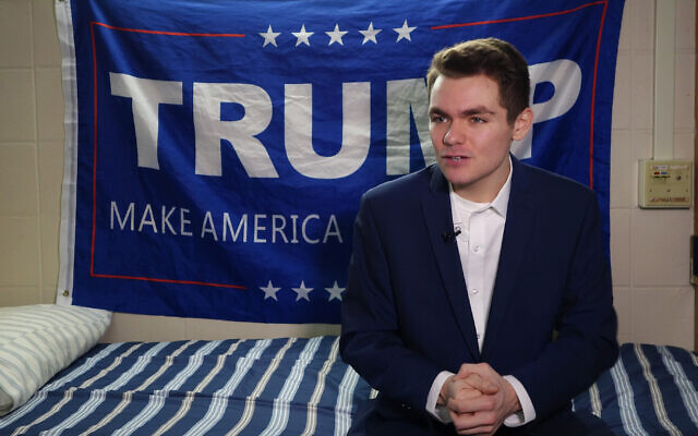 Conservative student and supporter of US President Donland Trump, Nick Fuentes, answers question during an interview with Agence France-Presse in Boston, Massachusetts, on May 9, 2016. (WILLIAM EDWARDS/AFP)