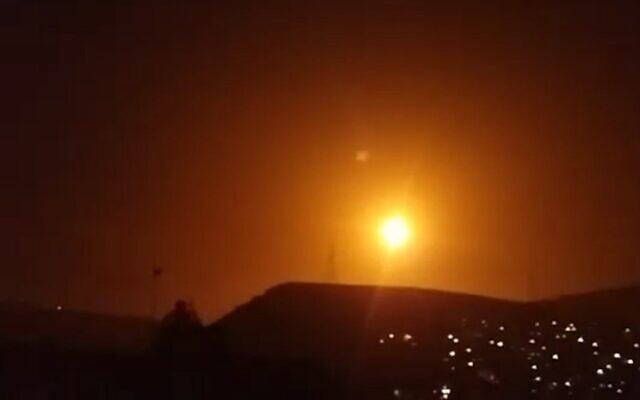 Explosions are seen in the skies over Damascus as the Syrian military fires anti-aircraft weapons at incoming missiles during an attack attributed to Israel on February 6, 2020. (SANA)
