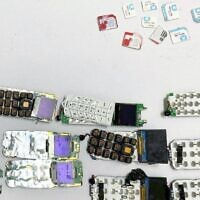 Cellphones and SIM cards found inside a security prisoner's abdomen. (Israel Prisons Service)