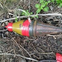 The warhead of a rocket-propelled grenade, which appears to have been flown into southern Israel from the Gaza Strip, is found outside the community of Alumim on February 18, 2020. (Courtesy)