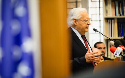 US Ambassador to Israel David Friedman addressing a briefing hosted by the Jerusalem Center for Public Affairs, February 9, 2020 (Reouven Ben Haim/JCPA)