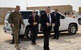 U.S. Secretary of State Mike Pompeo arrives to have lunch with members of the US military at the Prince Sultan air base in Al-Kharj, in central Saudi Arabia  February 20, 2020. (Andrew Caballero-Reynolds/Pool/AFP)