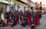Carnival float in the Spanish town of Campo de Criptana features uniforms of Nazis, concentration camp inmates and crematoria trains, in February 2020. (YouTube screenshot via JTA)