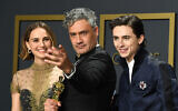 Jewish stars Natalie Portman, Taika Waititi, and Timothée Chalamet pose in the press room during the 92nd Annual Academy Awards (Photo by Steve Granitz/ WireImage/via JTA)