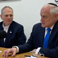 The Conference of Presidents of Major American Jewish Organizations executive vice president Malcolm Hoenlein (R) and CEO William Daroff at The Times of Israel offices in Jerusalem, February 6, 2020. (Times of Israel)