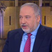 Yisrael Beytenu chairman Avigdor Liberman speaks to Channel 12 news on February 22, 2020 (Channel 12 screenshot)
