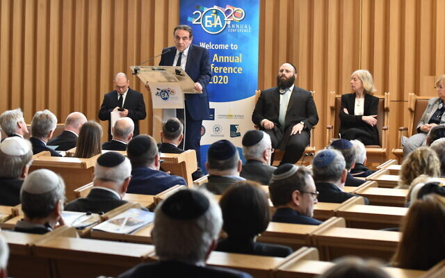Consistoire President Joel Mergui addresses the European Jewish Association annual conference in Paris on February 25, 2020. (Yoni Rykner)