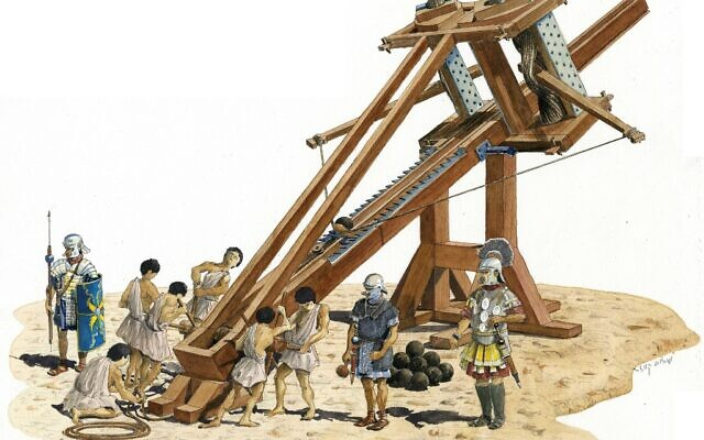 Illustration of a 2,000-year-old ballista machine. (Shalom Kveller, courtesy of the City of David Archives)