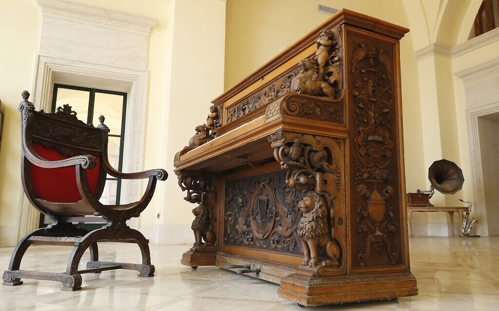 The Piano of Siena, a 19th century instrument that disappeared for decades and was expected to fetch more than $1 million when put up for auction, seen in a home in the Israeli coastal city of Caesarea, February 18, 2020. (JACK GUEZ / AFP)