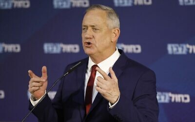 Blue and White party leader Benny Gantz gives a statement to the press in Ramat Gan on March 1, 2020. (Menahem Kahana/AFP)