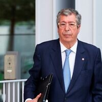 The Mayor of Levallois-Perret (Hauts-de-Seine) Patrick Balkany arrives at Paris' courthouse for his trial of tax fraud and aggravated money laundering fraud, May 22, 2019. (AFP)
