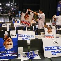 Volunteers sort election posters bearing the portrait of Prime Minister Benjamin Netanyahu, at the Likud party's electoral campaign headquarters in Tel Aviv on March 2, 2020. (Jack GUEZ / AFP)