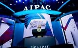 US Vice President Mike Pence speaks during the American Israel Public Affairs Committee (AIPAC) 2020 Policy Conference in Washington, DC, March 2, 2020. (Saul Loeb/AFP)