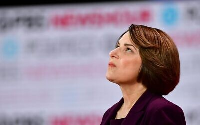 Democratic presidential hopeful Minnesota Senator Amy Klobuchar looks on ahead of the sixth Democratic primary debate of the 2020 presidential campaign season co-hosted by PBS NewsHour and Politico at Loyola Marymount University in Los Angeles, California, December 19, 2019. (Frederic J. Brown/AFP)