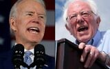 This combination of pictures created on March 02, 2020 shows Democratic presidential candidate Joe Biden delivers remarks at his primary night election event in Columbia, South Carolina.(JIM WATSON and RINGO CHIU / AFP)