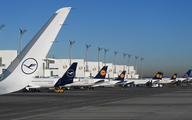 This photo taken on February 18, 2019, shows parked planes at the Lufthansa terminal of the Franz-Josef-Strauss airport in Munich, southern Germany. (Christof Stache/AFP)