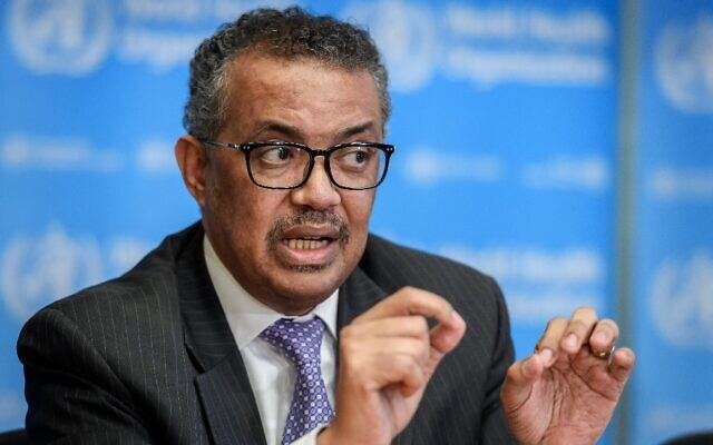 World Health Organization Director-General Tedros Adhanom Ghebreyesus speaks during a daily press briefing on COVID-19 virus at the WHO headquarters in Geneva on March 9, 2020 (Fabrice COFFRINI / AFP)