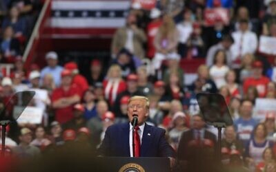 US President Donald Trump speaks to supporters during a rally on March 2, 2020 in Charlotte, North Carolina. (Brian Blanco/Getty Images/AFP)