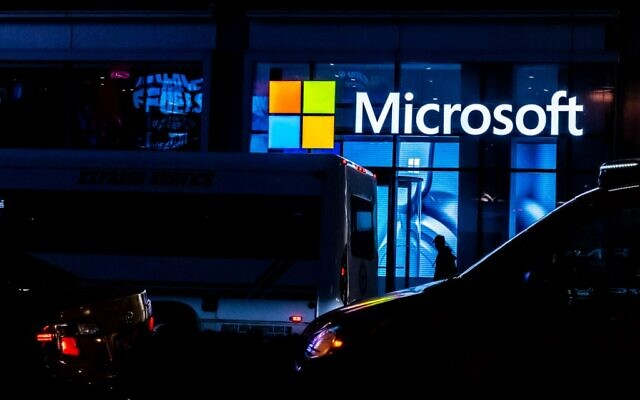A signage of Microsoft is seen on March 13, 2020, in New York City. (Jeenah Moon/ Getty Images/AFP)